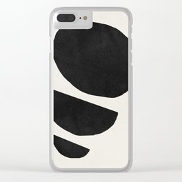 Abstract black shapes art, Mid century modern art Clear iPhone Case