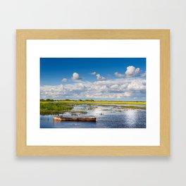 Old wooden boat in Biebrza wetland Framed Art Print