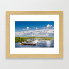 Old wooden boat in Biebrza wetland Framed Art Print