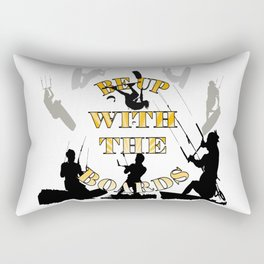 Be Up With The Boards Yellow Text And Kitesurfer Vector Rectangular Pillow