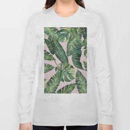 Jungle Leaves, Banana, Monstera Pink #society6 Long Sleeve T-shirt