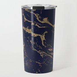 Modern luxury chic navy blue gold marble pattern Travel Mug