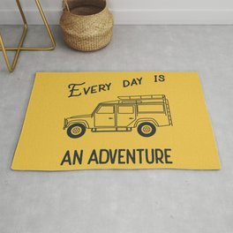 Every day is an adventure, land rover Rug