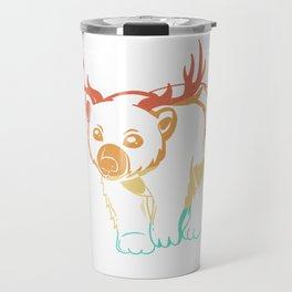 Bear antlers stag vintage retro deer Travel Mug