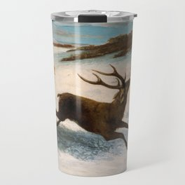 Deer Running in the Snow by Gustave Courbet Travel Mug