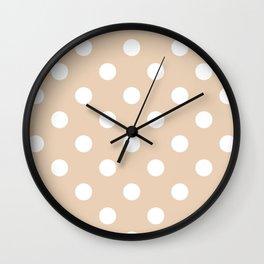 Polka Dots - White on Pastel Brown Wall Clock