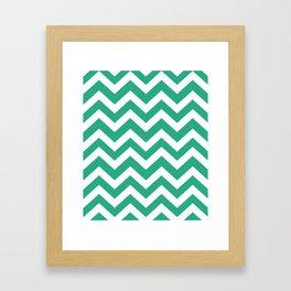 Jungle green - green color - Zigzag Chevron Pattern Framed Art Print