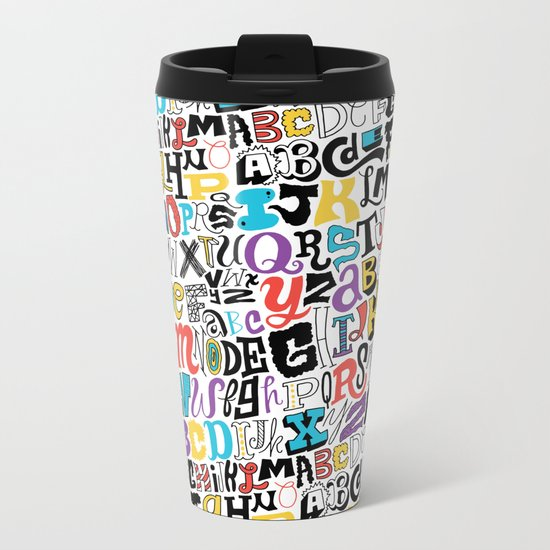 Alpha Pattern Metal Travel Mug