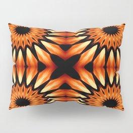 Orange & Black Pinwheel Flowers Pillow Sham