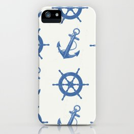Nautical anchor pattern iPhone Case