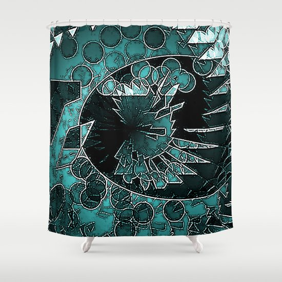 Modern Aqua Black And White Abstract Shower Curtain By
