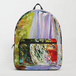 Bouquet of wildflowers. Backpack