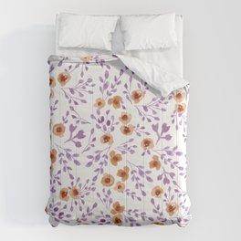 Prairie Flowers - Watercolor Floral Purple Copper Brown Comforters