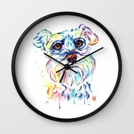 Schnauzer Watercolor Pet Portrait Painting Wall Clock