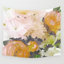 Watercolor Floral Print in Grey, Mustard, Pastel Pink, and Off White Wall Tapestry