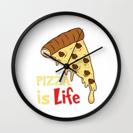 Snack Lovers Pepperoni Cheese Collection T-shirt Design Pizza Is Life Hawaiian Tomato Sauce Pizza Wall Clock