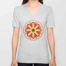 Sweet Happiness Floral Mandala Unisex V-Neck