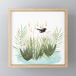 Red Winged Black Bird & Botanicals Framed Mini Art Print