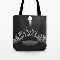 return Tote Bags featuring Return by Ed Burczyk