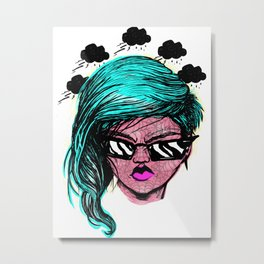 Frowning Beauty Metal Print