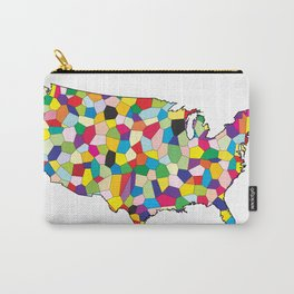 USA Flag Map Patchwork Carry-All Pouch