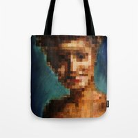 laura palmer Tote Bags featuring Who Pixelated Laura Palmer :; Twin Peaks by Kristin Frenzel
