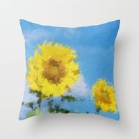 sunflowers Throw Pillows featuring Sunflowers by Paul Kimble
