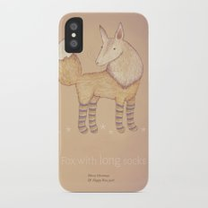 Christmas creatures- Fox with long socks iPhone X Slim Case