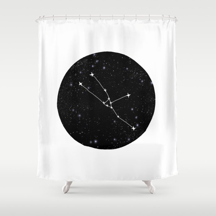 Taurus Constellation Black And White Minimal Star Chart Stars Outer Space Astronomy Shower Curtain By Monoo
