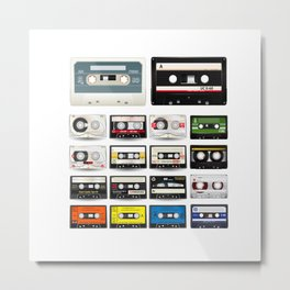 Collection of Retro Audio Cassette Tapes Metal Print