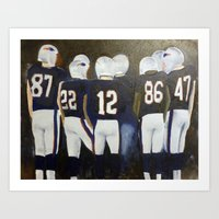 patriots Art Prints featuring Patriots Football by Pink Petals Paintings