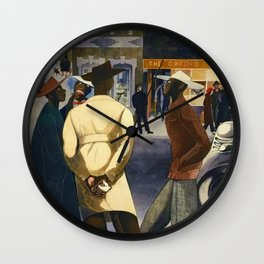 Harlem Sunday Morning African American Masterpiece by E. Burra Wall Clock