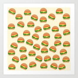 Cute Burgers Art Print