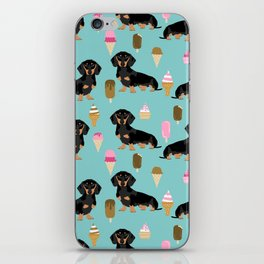 dachshund ice cream black and tan doxie dog breed cute pattern gifts iPhone Skin