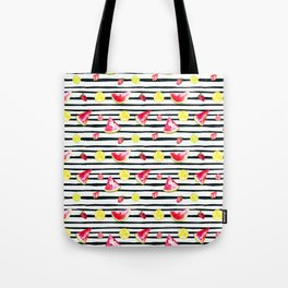 Hand painted black pink yellow watercolor summer fruit pattern Tote Bag