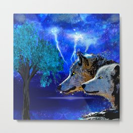 WOLF AND LIGHTENING Metal Print
