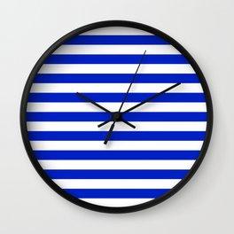 Cobalt Blue and White Horizontal Beach Hut Stripe Wall Clock