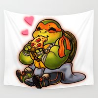 chibi Wall Tapestries featuring Chibi Michelangelo by Noodles ^7^