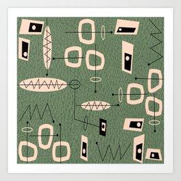 Mid-Century Atomic Green Abstract Art Print