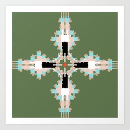Pantone Plus Feathered Kale Circles Art Print
