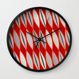 Mid Century Modern Leaves, Dark Red & Gray / Grey Wall Clock
