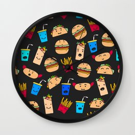Kawaii Fast Food Burger Fries Taco Pattern Black Wall Clock
