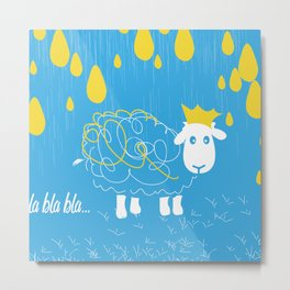 White sheep whit yellow dots Metal Print