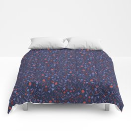 Intricate Dark Moody Floral Pattern Comforters