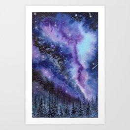 Purple & Blue watercolor galaxy landscape painting Art Print