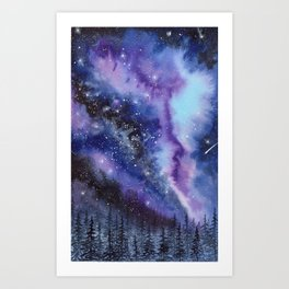 Purple & Blue watercolor galaxy landscape painting Art Print