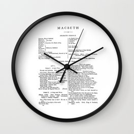 Macbeth William Shakespeare First Page Wall Clock
