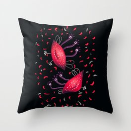 Cute Red Three Eyed Aliens Throw Pillow