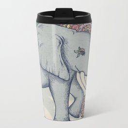 Little Elephant in soft vintage pastels Metal Travel Mug