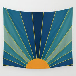 Golden Sun with Blue Rays Art Wall Tapestry